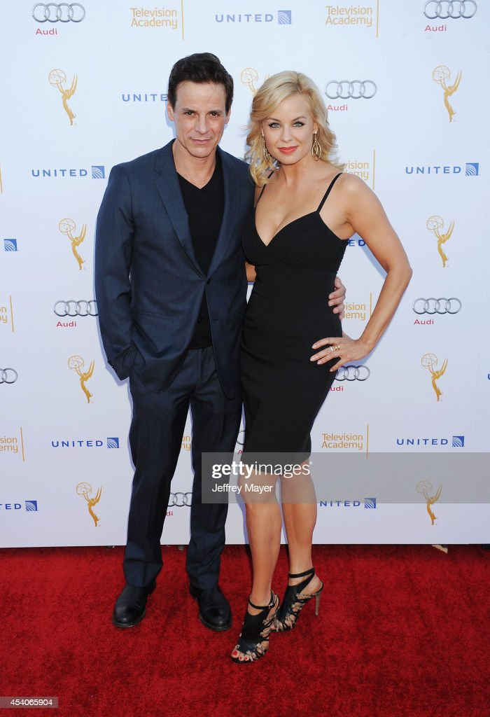 Actors Christian LeBlanc (L) and Jessica Collins arrive at the Television Academy's 66th Emmy Awards Performance Nominee Reception at the Pacific Design Center on Saturday, Aug. 23, 2014, in West Hollywood, California.