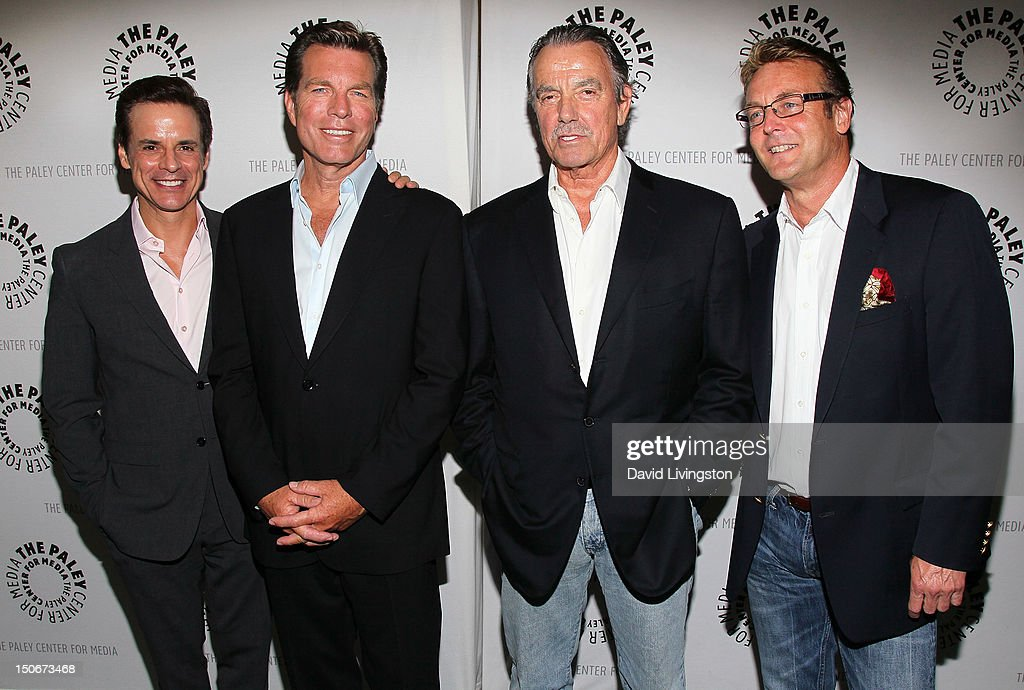 Actors <a gi-track='captionPersonalityLinkClicked' href=/galleries/search?phrase=Christian+LeBlanc&family=editorial&specificpeople=624082 ng-click='$event.stopPropagation()'>Christian LeBlanc</a>, <a gi-track='captionPersonalityLinkClicked' href=/galleries/search?phrase=Peter+Bergman&family=editorial&specificpeople=214085 ng-click='$event.stopPropagation()'>Peter Bergman</a>, <a gi-track='captionPersonalityLinkClicked' href=/galleries/search?phrase=Eric+Braeden&family=editorial&specificpeople=206325 ng-click='$event.stopPropagation()'>Eric Braeden</a> and <a gi-track='captionPersonalityLinkClicked' href=/galleries/search?phrase=Doug+Davidson&family=editorial&specificpeople=775970 ng-click='$event.stopPropagation()'>Doug Davidson</a> attend The Paley Center for Media presentation of 'The Young and the Restless: Celebrating 10,000 Episodes' at The Paley Center for Media on August 23, 2012 in Beverly Hills, California.