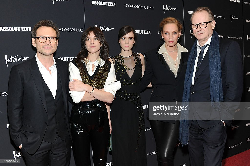 Actors <a gi-track='captionPersonalityLinkClicked' href=/galleries/search?phrase=Christian+Slater&family=editorial&specificpeople=201651 ng-click='$event.stopPropagation()'>Christian Slater</a>, <a gi-track='captionPersonalityLinkClicked' href=/galleries/search?phrase=Charlotte+Gainsbourg&family=editorial&specificpeople=243034 ng-click='$event.stopPropagation()'>Charlotte Gainsbourg</a>, <a gi-track='captionPersonalityLinkClicked' href=/galleries/search?phrase=Stacy+Martin&family=editorial&specificpeople=5545651 ng-click='$event.stopPropagation()'>Stacy Martin</a>, <a gi-track='captionPersonalityLinkClicked' href=/galleries/search?phrase=Uma+Thurman&family=editorial&specificpeople=171973 ng-click='$event.stopPropagation()'>Uma Thurman</a> and <a gi-track='captionPersonalityLinkClicked' href=/galleries/search?phrase=Stellan+Skarsgard&family=editorial&specificpeople=233516 ng-click='$event.stopPropagation()'>Stellan Skarsgard</a> attend the 'Nymphomaniac: Volume I' New York screening at Museum of Modern Art on March 13, 2014 in New York City.