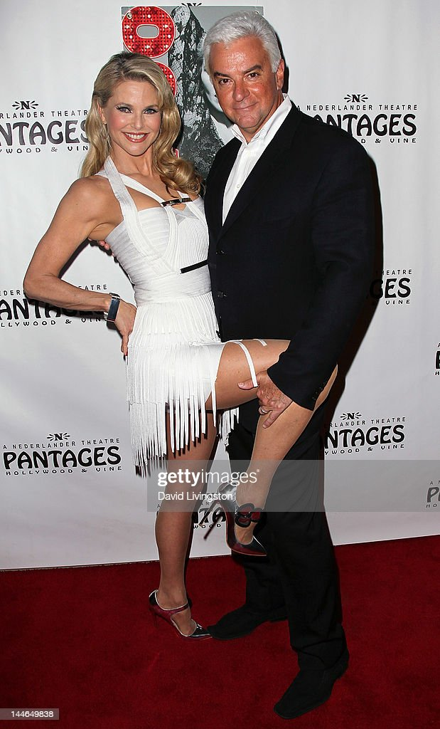 Actors <a gi-track='captionPersonalityLinkClicked' href=/galleries/search?phrase=Christie+Brinkley&family=editorial&specificpeople=204151 ng-click='$event.stopPropagation()'>Christie Brinkley</a> (L) and <a gi-track='captionPersonalityLinkClicked' href=/galleries/search?phrase=John+O%27Hurley&family=editorial&specificpeople=847410 ng-click='$event.stopPropagation()'>John O'Hurley</a> pose at the opening night of 'Chicago' at the Pantages Theatre on May 16, 2012 in Hollywood, California.