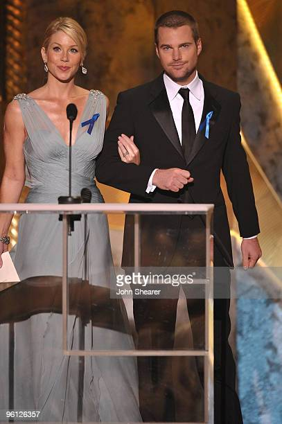 Actors Christina Applegate and Chris O'Donnell onstage at the TNT/TBS broadcast of the 16th Annual Screen Actors Guild Awards held at the Shrine...