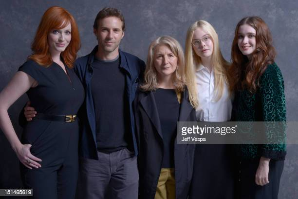 Actors Christina Hendricks Alessandro Nivola director Sally Potter actors Elle Fanning and Alice Englert of 'Ginger And Rosa' pose at the Guess...