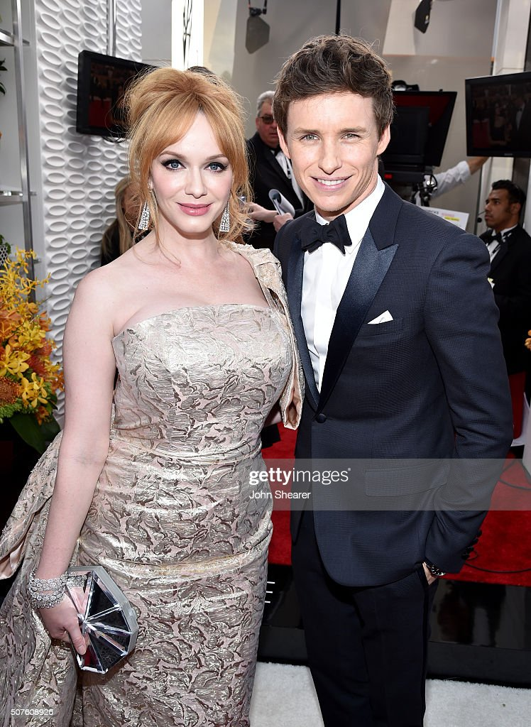 Actors Christina Hendricks and Eddie Redmayne attends the 22nd Annual Screen Actors Guild Awards at The Shrine Auditorium on January 30, 2016 in Los Angeles, California.