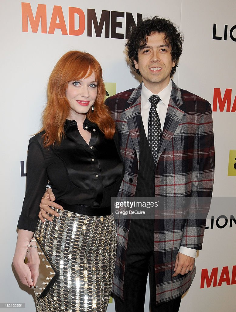 Actors <a gi-track='captionPersonalityLinkClicked' href=/galleries/search?phrase=Christina+Hendricks&family=editorial&specificpeople=2239736 ng-click='$event.stopPropagation()'>Christina Hendricks</a> and <a gi-track='captionPersonalityLinkClicked' href=/galleries/search?phrase=Geoffrey+Arend&family=editorial&specificpeople=3164071 ng-click='$event.stopPropagation()'>Geoffrey Arend</a> arrive at AMC's 'Mad Men' Season 7 premiere at ArcLight Cinemas on April 2, 2014 in Hollywood, California.