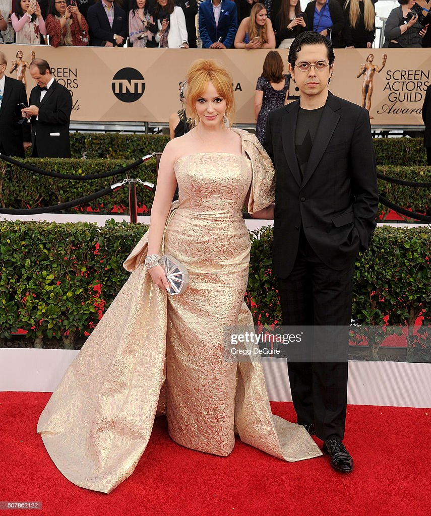 Actors Christina Hendricks and Geoffrey Arend arrive at the 22nd Annual Screen Actors Guild Awards at The Shrine Auditorium on January 30, 2016 in Los Angeles, California.
