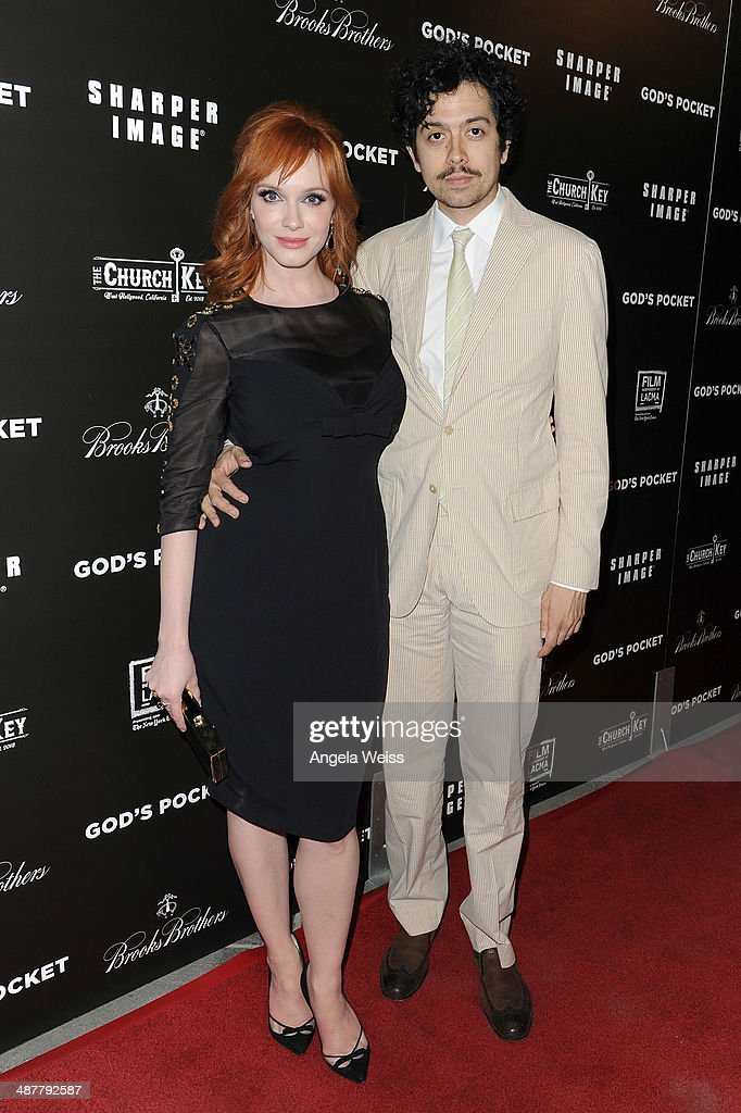 Actors <a gi-track='captionPersonalityLinkClicked' href=/galleries/search?phrase=Christina+Hendricks&family=editorial&specificpeople=2239736 ng-click='$event.stopPropagation()'>Christina Hendricks</a> and husband <a gi-track='captionPersonalityLinkClicked' href=/galleries/search?phrase=Geoffrey+Arend&family=editorial&specificpeople=3164071 ng-click='$event.stopPropagation()'>Geoffrey Arend</a> arrive at the premiere of IFC Films 'God's Pocket' at LACMA on May 1, 2014 in Los Angeles, California.