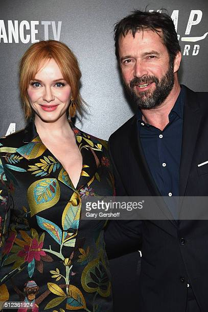 Actors Christina Hendricks and James Purefoy attend the 'Hap and Leonard' New York screening at Hill Country on February 25 2016 in New York City