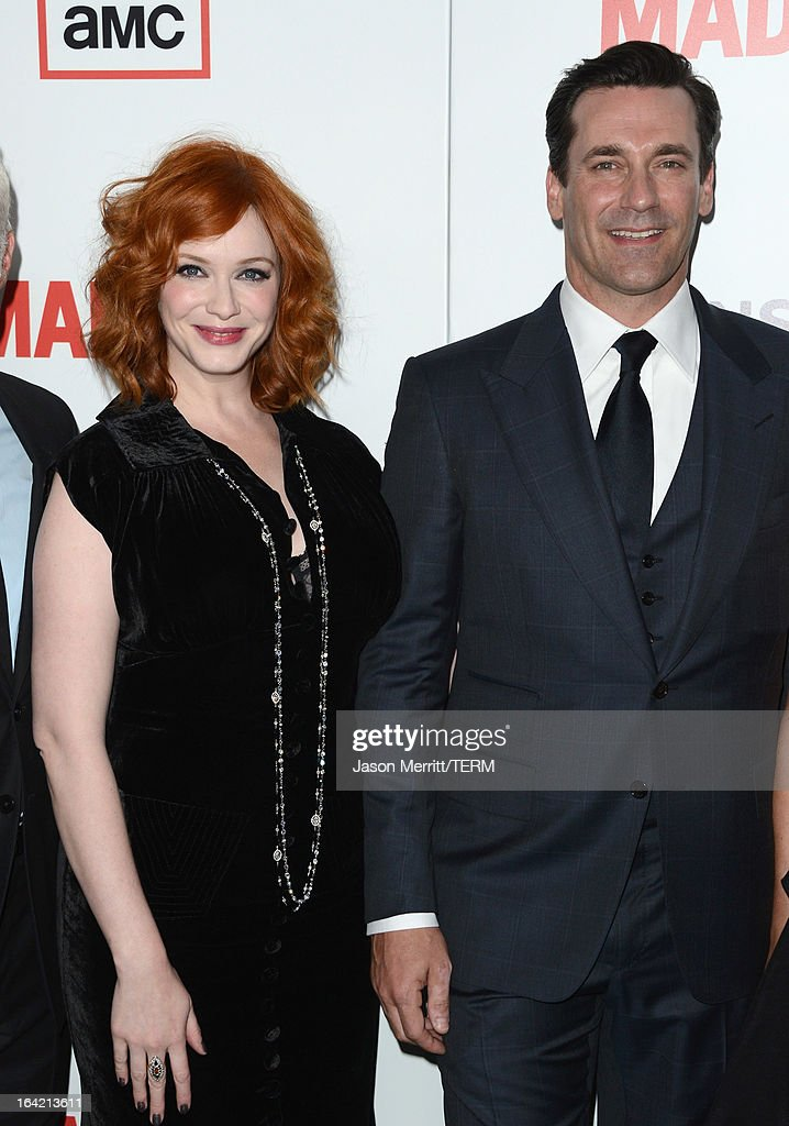 Actors <a gi-track='captionPersonalityLinkClicked' href=/galleries/search?phrase=Christina+Hendricks&family=editorial&specificpeople=2239736 ng-click='$event.stopPropagation()'>Christina Hendricks</a> and <a gi-track='captionPersonalityLinkClicked' href=/galleries/search?phrase=Jon+Hamm&family=editorial&specificpeople=3027367 ng-click='$event.stopPropagation()'>Jon Hamm</a> arrive at the Premiere of AMC's 'Mad Men' Season 6 at DGA Theater on March 20, 2013 in Los Angeles, California.