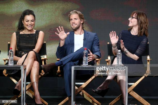 Actors Christina Ochoa and Matt Barr and executive producer Anna Fricke of 'Valor' speak onstage during the CW portion of the 2017 Summer Television...
