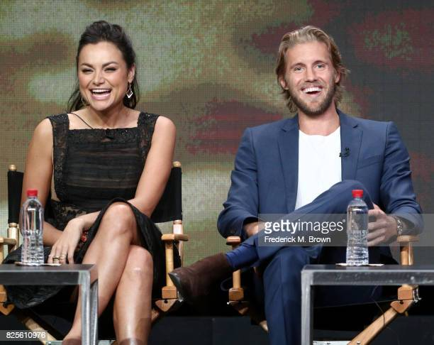 Actors Christina Ochoa and Matt Barr of 'Valor' speak onstage during the CW portion of the 2017 Summer Television Critics Association Press Tour at...