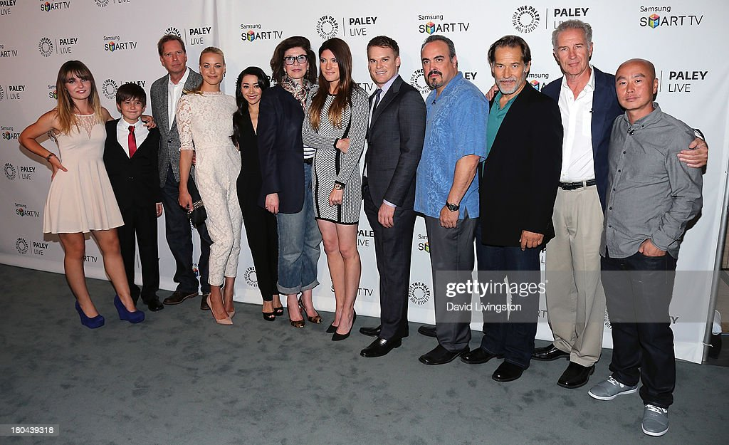 Actors Christina Robinson and Preston Bailey, executive producer Scott Buck, actors <a gi-track='captionPersonalityLinkClicked' href=/galleries/search?phrase=Yvonne+Strahovski&family=editorial&specificpeople=4387578 ng-click='$event.stopPropagation()'>Yvonne Strahovski</a> and Amiee Garcia, executive producer Sara Colleton and actors <a gi-track='captionPersonalityLinkClicked' href=/galleries/search?phrase=Jennifer+Carpenter&family=editorial&specificpeople=595643 ng-click='$event.stopPropagation()'>Jennifer Carpenter</a>, <a gi-track='captionPersonalityLinkClicked' href=/galleries/search?phrase=Michael+C.+Hall+-+Actor&family=editorial&specificpeople=680229 ng-click='$event.stopPropagation()'>Michael C. Hall</a>, <a gi-track='captionPersonalityLinkClicked' href=/galleries/search?phrase=David+Zayas&family=editorial&specificpeople=549697 ng-click='$event.stopPropagation()'>David Zayas</a>, <a gi-track='captionPersonalityLinkClicked' href=/galleries/search?phrase=James+Remar&family=editorial&specificpeople=1567743 ng-click='$event.stopPropagation()'>James Remar</a>, Geoff Pierson and <a gi-track='captionPersonalityLinkClicked' href=/galleries/search?phrase=C.S.+Lee&family=editorial&specificpeople=3464312 ng-click='$event.stopPropagation()'>C.S. Lee</a> attend PaleyFestPreviews: Fall TV - Fall Farewell: 'Dexter' at The Paley Center for Media on September 12, 2013 in Beverly Hills, California.