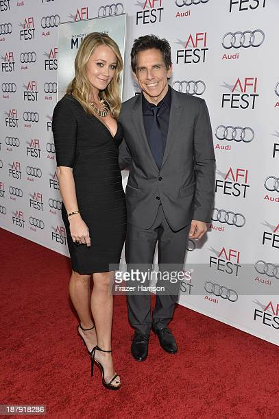 Actors Christine Taylor and Ben Stiller attend the premiere of 'The Secret Life of Walter Mitty' during AFI FEST 2013 presented by Audi at TCL...