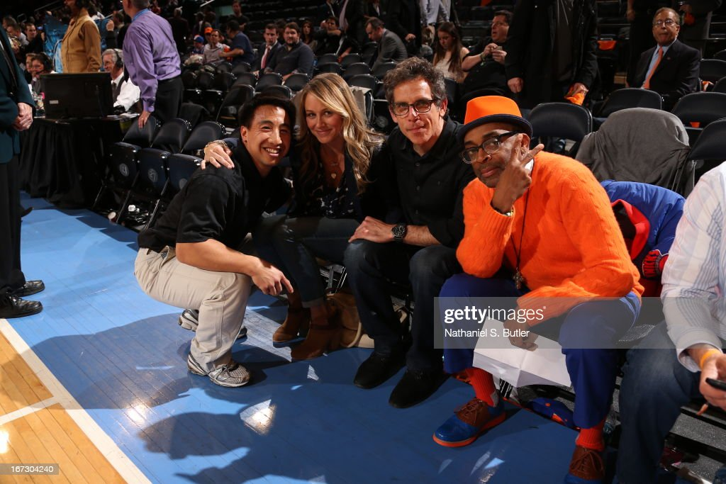 Actors Christine Taylor ; Ben Stiller ; Spike Lee smile for the camera after the New York Knicks against the Boston Celtics in Game Two of the Eastern Conference Quarterfinals during the 2013 NBA Playoffs on April 23, 2013 at Madison Square Garden in New York City.