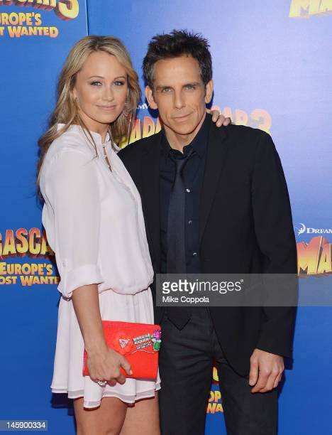 Actors Christine TaylorStiller and Ben Stiller attend the 'Madagascar 3 Europe's Most Wanted' New York Premier at Ziegfeld Theatre on June 7 2012 in...