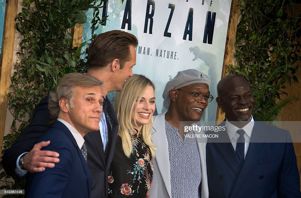 Actors Christoph Waltz, Alexander Skarsgard, Margot Robbie, Samuel L. Jackson and Djimon Hounsou attend the world premiere of 'The Legend of Tarzan' in Hollywood, California, on June 27, 2016. / AFP / VALERIE