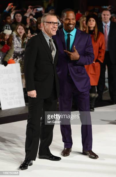 Actors Christoph Waltz and Jamie Foxx attend the UK Premiere of 'Django Unchained' at the Empire Leicester Square on January 10 2013 in London England