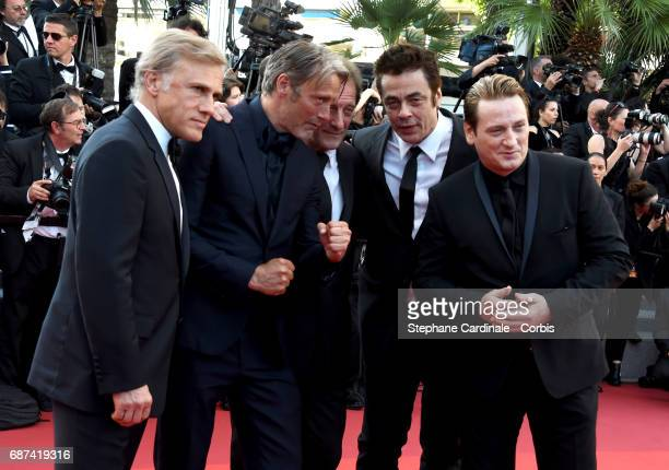 Actors Christoph Waltz Mads Mikkelsen Vincent Lindon Benicio del Toro and Benoit Magimel attend the 70th Anniversary of the 70th annual Cannes Film...