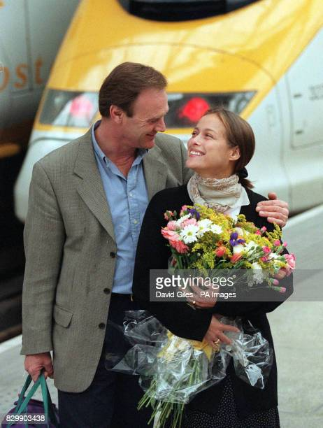 Actors Christopher Cazenove and Estelle Skornik after stepping off the Eurostar train at Waterloo Station in London today Cazenove and Skornik are...