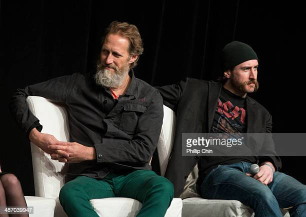 Actors Christopher Heyerdahl and Phil Burke participate in the 'Hell on Wheels' panel discussion at the Expo Pavillion during the Calgary Expo/ Comic...