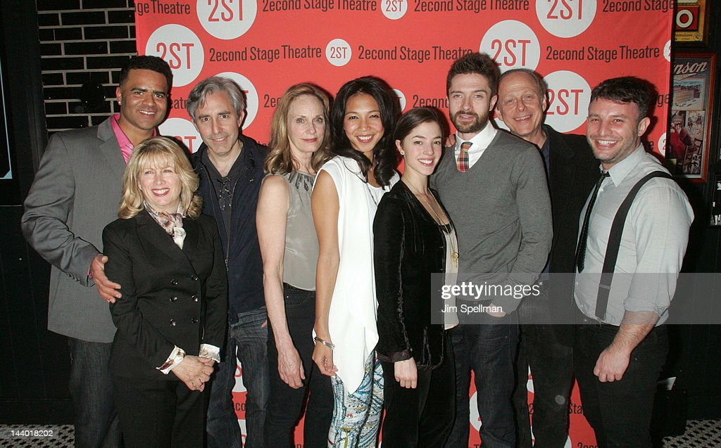 Actors Christopher Jackson, <a gi-track='captionPersonalityLinkClicked' href=/galleries/search?phrase=Paul+Weitz&family=editorial&specificpeople=217980 ng-click='$event.stopPropagation()'>Paul Weitz</a> ( 3rd from left), Lisa Emery, Maureen Sebastian, <a gi-track='captionPersonalityLinkClicked' href=/galleries/search?phrase=Olivia+Thirlby&family=editorial&specificpeople=669904 ng-click='$event.stopPropagation()'>Olivia Thirlby</a>, <a gi-track='captionPersonalityLinkClicked' href=/galleries/search?phrase=Topher+Grace&family=editorial&specificpeople=203130 ng-click='$event.stopPropagation()'>Topher Grace</a>, Mark Blum and director Trip Cullman attend the 'Lonely, I'm Not' Off-Broadway opening night after party at the HB Burger on May 7, 2012 in New York City.