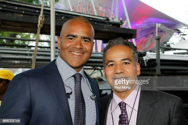 Actors Christopher Jackson star of Broadway's 'Hamilton' and CBS' 'Bull' and John Ortiz backstage at PBS' 2017 National Memorial Day Concert...