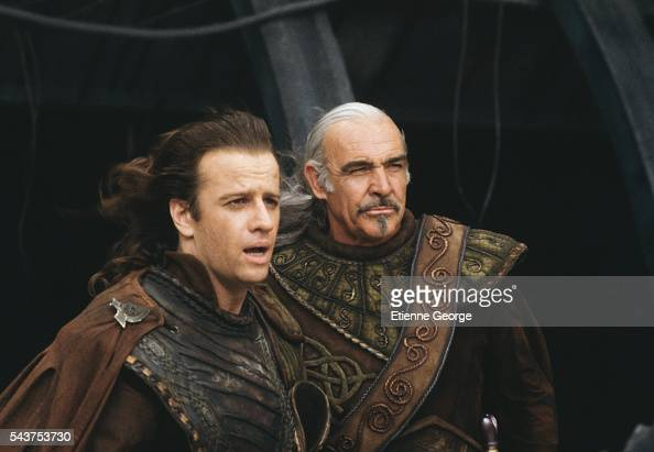 Actors Christopher Lambert and Sean Connery on the set of 'Highlander II The Quickening' directed by Russell Mulcahy
