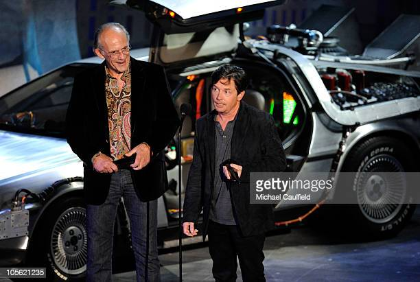 Actors Christopher Lloyd and Michael J Fox accept the Discretionary award onstage during Spike TV's 'Scream 2010' at The Greek Theatre on October 16...