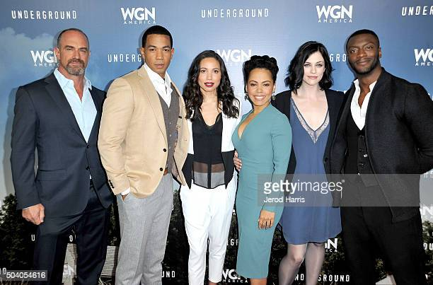 Actors Christopher Meloni Alano Miller Jurnee SmollettBell Amirah Vann Jessica de Gouw and Aldis Hodge attend the WGN America Winter 2016 TCA Press...