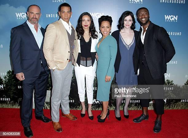 Actors Christopher Meloni Alano Miller Jurnee SmollettBell Amirah Vann Jessica de Gouw and Aldis Hodge attend WGN America's 'Underground' Photo Call...