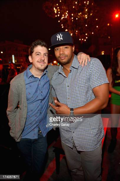 Actors Christopher MintzPlasse and Donald Faison attend the Playboy and Universal Pictures' 'KickAss 2' event at ComicCon sponsored by AXE Black...