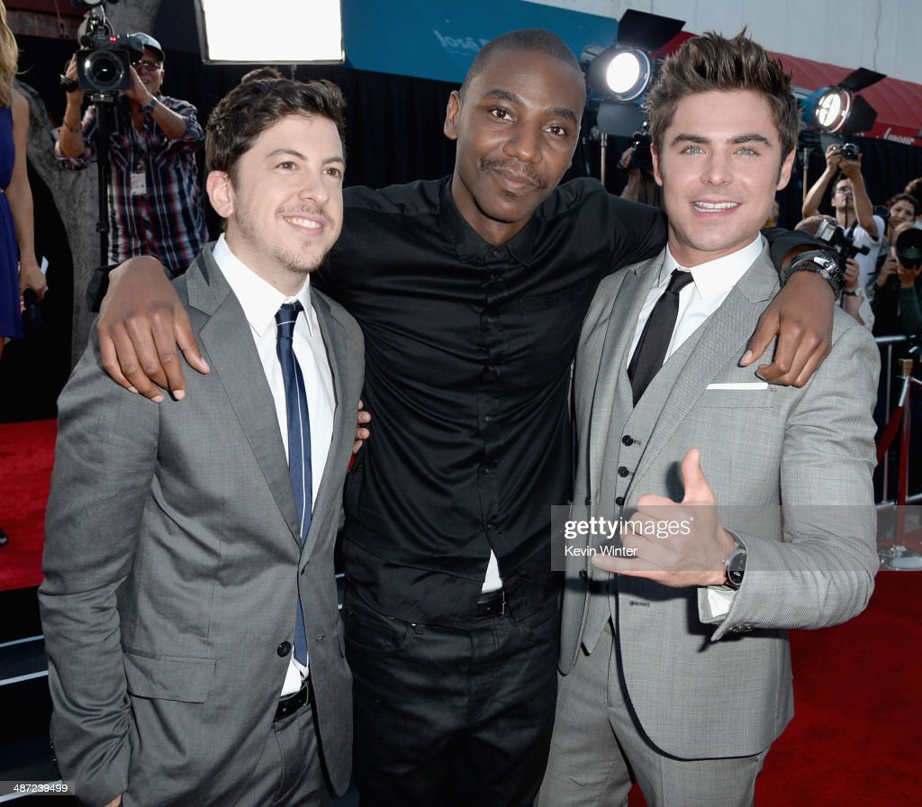 Actors Christopher Mintz-Plasse, Jerrod Carmichael and Zac Efron attend Universal Pictures' 'Neighbors' premiere at Regency Village Theatre on April 28, 2014 in Westwood, California.