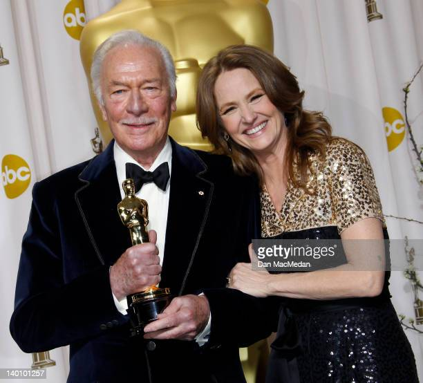 Actors Christopher Plummer and Melissa Leo pose in the press room at the 84th Annual Academy Awards held at Hollywood Highland Center on February 26...