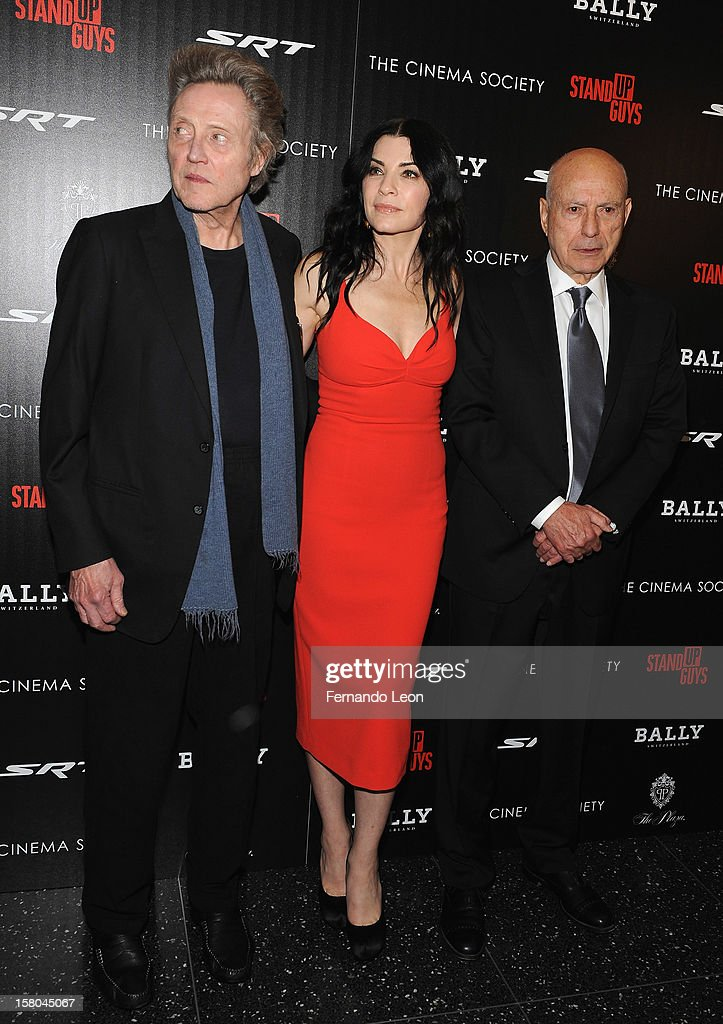 Actors <a gi-track='captionPersonalityLinkClicked' href=/galleries/search?phrase=Christopher+Walken&family=editorial&specificpeople=209174 ng-click='$event.stopPropagation()'>Christopher Walken</a>, Julianna Margulies and <a gi-track='captionPersonalityLinkClicked' href=/galleries/search?phrase=Alan+Arkin&family=editorial&specificpeople=681109 ng-click='$event.stopPropagation()'>Alan Arkin</a> attend the premiere of 'Stand Up Guys' hosted by The Cinema Society with Chrysler and Bally at MOMA on December 9, 2012 in New York City.