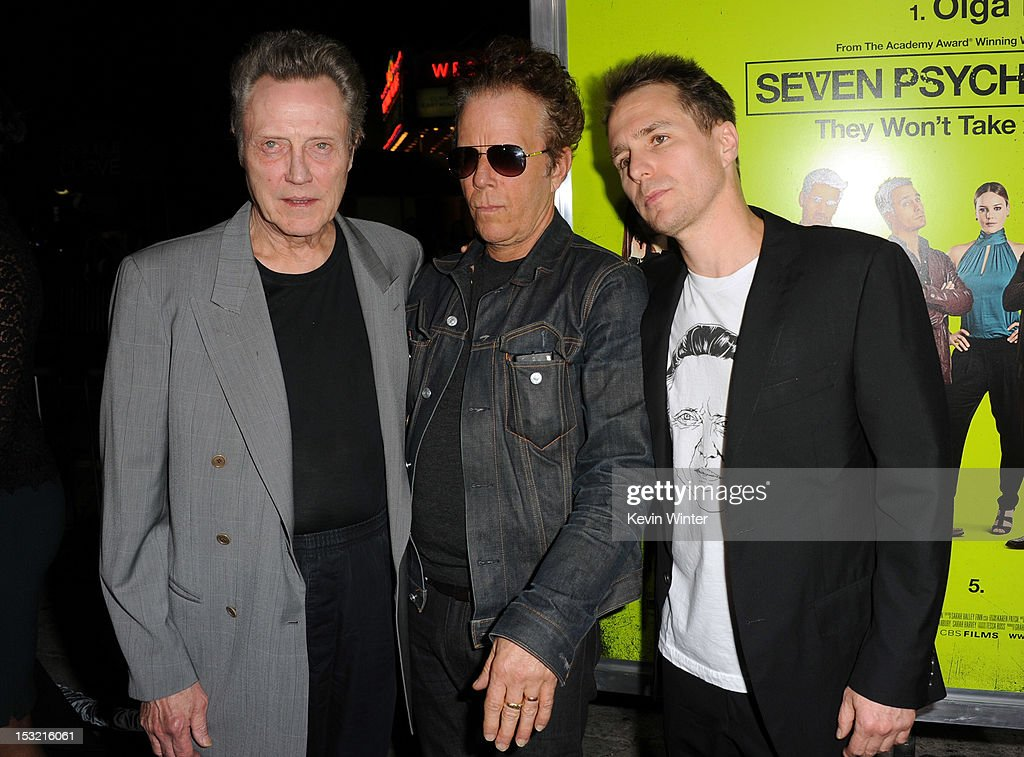 Actors <a gi-track='captionPersonalityLinkClicked' href=/galleries/search?phrase=Christopher+Walken&family=editorial&specificpeople=209174 ng-click='$event.stopPropagation()'>Christopher Walken</a>, <a gi-track='captionPersonalityLinkClicked' href=/galleries/search?phrase=Tom+Waits&family=editorial&specificpeople=1104144 ng-click='$event.stopPropagation()'>Tom Waits</a>, and <a gi-track='captionPersonalityLinkClicked' href=/galleries/search?phrase=Sam+Rockwell&family=editorial&specificpeople=213214 ng-click='$event.stopPropagation()'>Sam Rockwell</a> arrive at the premiere of CBS Films' 'Seven Psychopaths' at Mann Bruin Theatre on October 1, 2012 in Westwood, California.