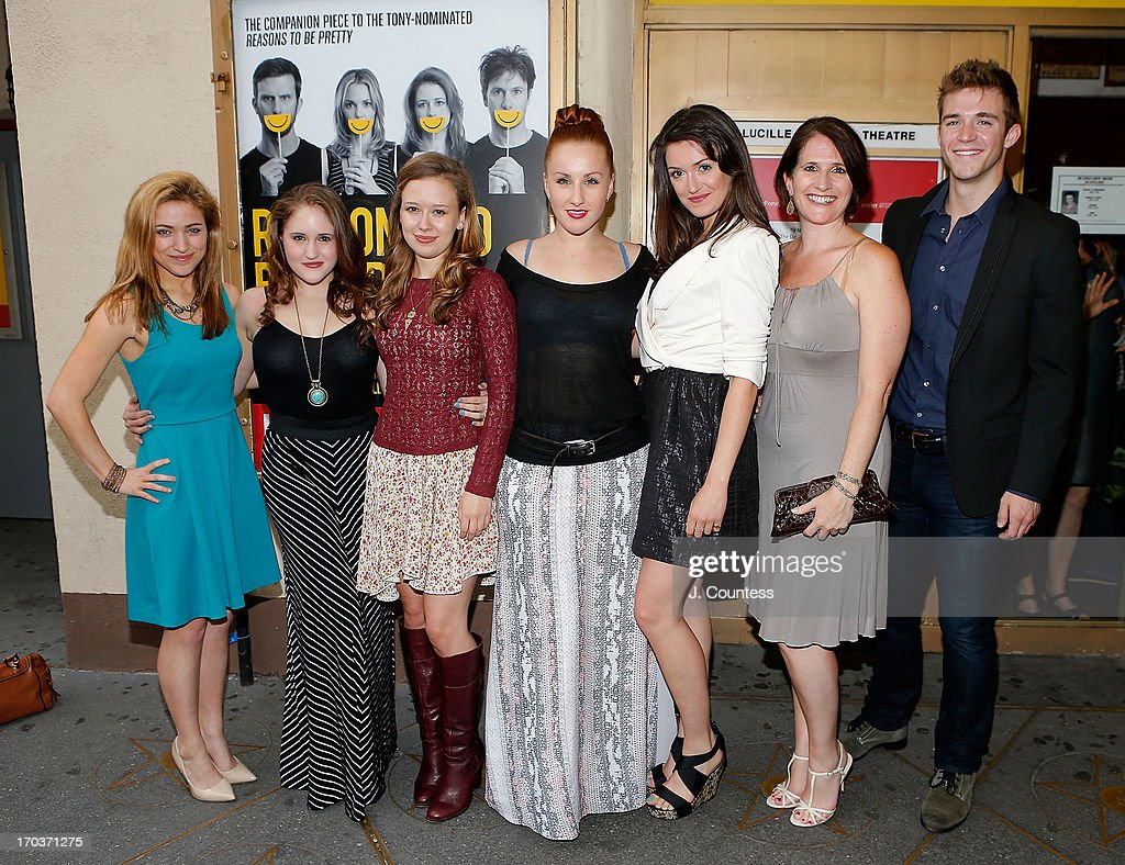 Actors Christy Altomare, Blair Goldberg, Molly Ranson, Jeanna de Waal, Mackenzie Bell, Anne Tolpegin and Jake Boyd of the cast of 'Carrie' attend the 'Reasons To Be Happy' Broadway Opening Night at Lucille Lortel Theatre on June 11, 2013 in New York City.