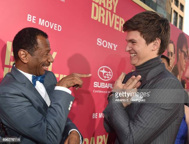 Actors CJ Jones and Ansel Elgort attend the premiere of Sony Pictures' 'Baby Driver' at Ace Hotel on June 14 2017 in Los Angeles California