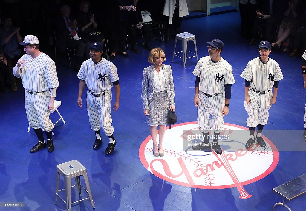 Actors C.J. Wilson, Francois Battiste, Wendy Makkena, Richard Topol and Keith Nobbs pose for photos during 'Bronx Bombers' Opening Night Curtain Call at Primary Stages on October 8, 2013 in New York City.