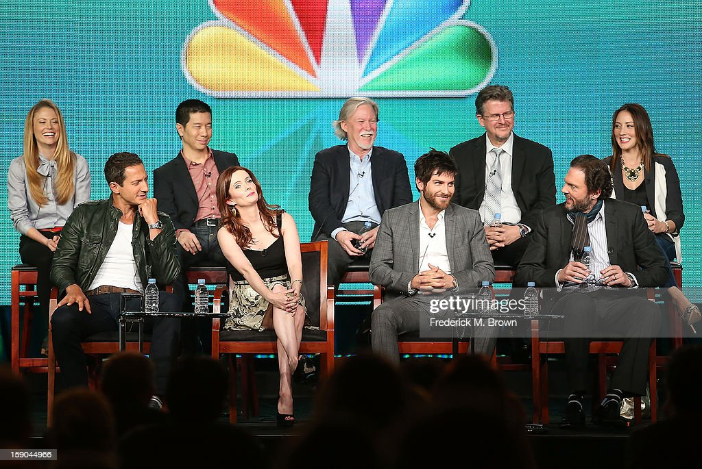 Actors Claire Coffee, Reggie Lee, Executive Producers Jim Kouf, David Greenwalt, actor Bree Turner, (Bottom L-R) Actors Sasha Roiz, Bitsie Tulloch, David Giuntoli, and Silas Weir Mitchell speak onstage at the 'Grimm' panel session during the NBCUniversal portion of the 2013 Winter TCA Tour- Day 3 at the Langham Hotel on January 6, 2013 in Pasadena, California.