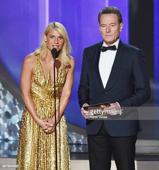 Actors Claire Danes and Bryan Cranston speak onstage during the 68th Annual Primetime Emmy Awards at Microsoft Theater on September 18 2016 in Los...