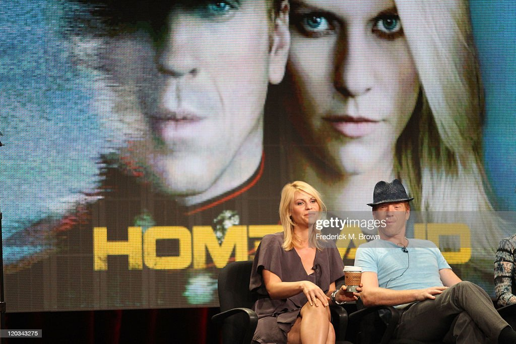 Actors Claire Danes and Damian Lewis speak during the 'Homeland' panel during the Showtime portion of the 2011 Summer TCA Tour held at the Beverly...