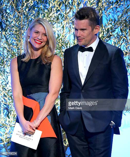 Actors Claire Danes and Ethan Hawke speak onstage during the 26th Annual Producers Guild Of America Awards at the Hyatt Regency Century Plaza on...