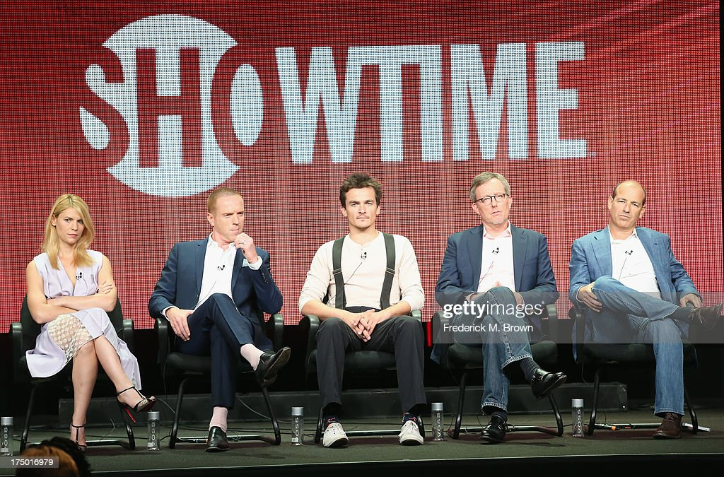 Actors Claire Danes Damian Lewis Rupert Friend executive producer Alex Gansa and executive producer Howard Gordon speak onstage during the 'Homeland'...