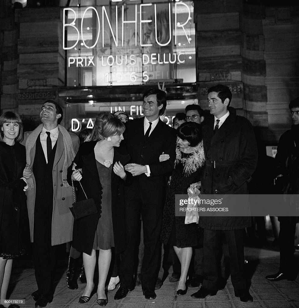 Actors Claire Drouot and Jean-Claude Drouot With Directors Agnès Varda and <a gi-track='captionPersonalityLinkClicked' href=/galleries/search?phrase=Jacques+Demy&family=editorial&specificpeople=896284 ng-click='$event.stopPropagation()'>Jacques Demy</a> At the Premiere of the Movie 'Le Bonheur' Directed By Agnès Varda, in Paris, France, on February 23, 1965 .