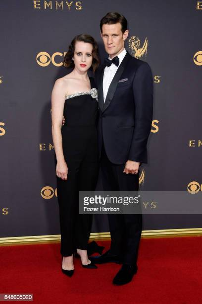 Actors Claire Foy and Matt Smith attend the 69th Annual Primetime Emmy Awards at Microsoft Theater on September 17 2017 in Los Angeles California