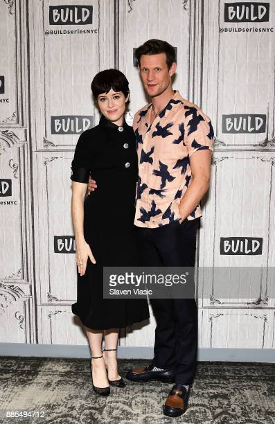 Actors Claire Foy and Matt Smith visit Build to discuss 'The Crown' at Build Studio on December 4 2017 in New York City