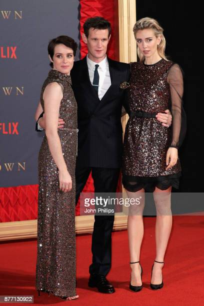Actors Claire Foy Matt Smith and Vanessa Kirby attend the World Premiere of season 2 of Netflix 'The Crown' at Odeon Leicester Square on November 21...
