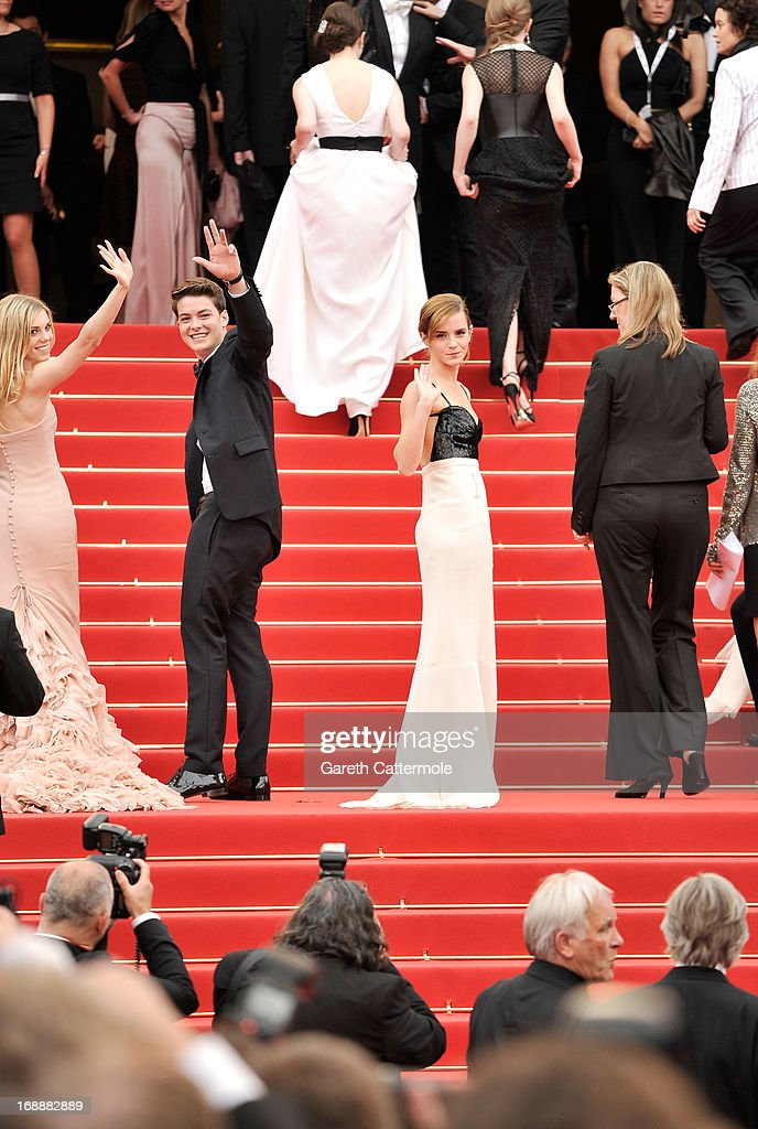 Actors Claire Julien, Israel Broussard and Emma Watson attend 'The Bling Ring' premiere during The 66th Annual Cannes Film Festival at the Palais des Festivals on May 16, 2013 in Cannes, France.