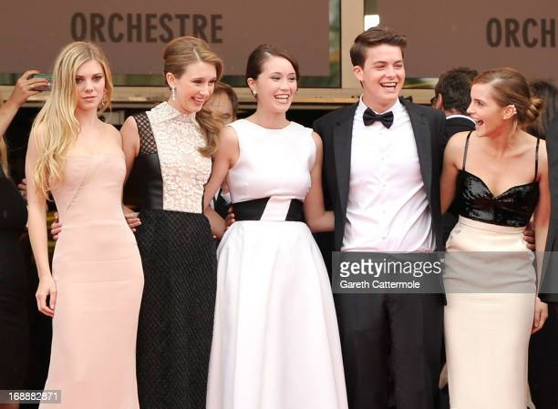 Actors Claire Julien Taissa Fariga Katie Chang Israel Broussard and Emma Watson attend 'The Bling Ring' premiere during The 66th Annual Cannes Film...