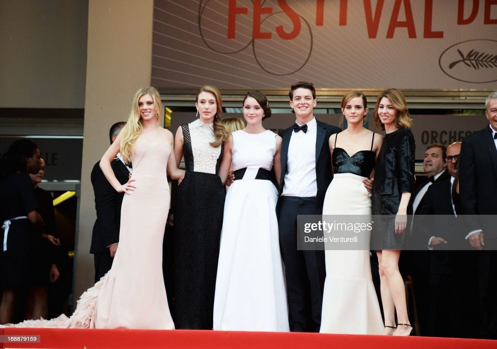 Actors Claire Julien, Taissa Fariga, Katie Chang, Israel Broussard, Emma Watson and director Sofia Coppola attend the Premiere of 'The Bling Ring' at The 66th Annual Cannes Film Festival at Palais des Festivals on May 16, 2013 in Cannes, France.