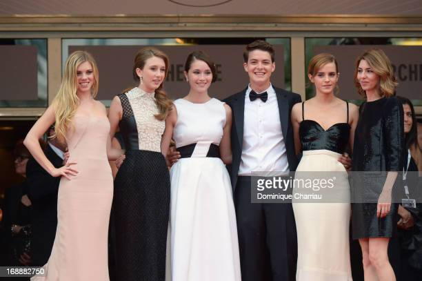 Actors Claire Julien Taissa Fariga Katie Chang Israel Broussard Emma Watson and director Sofia Coppola attend 'The Bling Ring' Premiere during the...